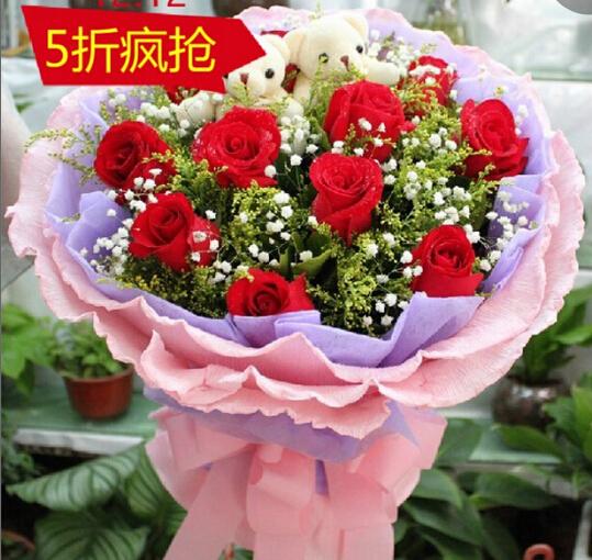石夏兰淘宝价,淘宝贝,仅售118元,价值188元的鲜花,一束团购价,深圳福田送鲜花,11朵红玫瑰花鲜花图片展示。