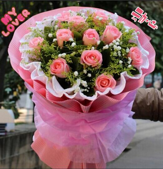石夏兰淘宝价,淘宝贝,仅售118元,价值188元的鲜花,一束团购价,深圳福田送鲜花,11朵粉玫瑰花鲜花图片展示