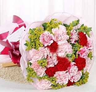 石夏兰快递生日鲜花,18枝康乃馨鲜花图片展示。