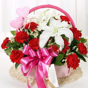 石夏兰送给妈妈的康乃馨鲜花图片展示。
