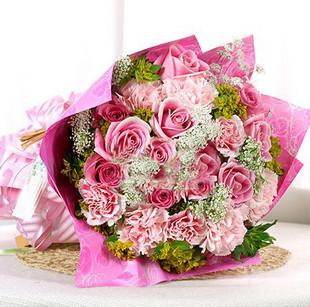 石夏兰不一样的爱,送给母亲长辈领导,16枝康乃馨与玫瑰花束,母亲,长辈领导,鲜花,外婆生日,送花鲜花图片展示