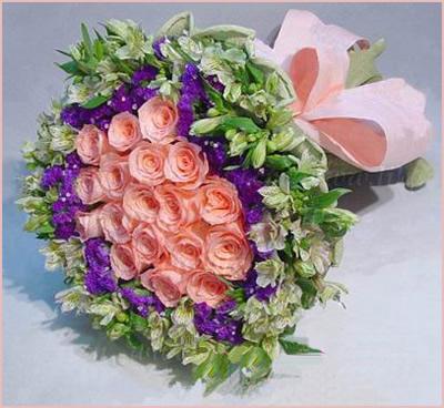 石夏兰20朵粉玫瑰鲜花图片展示。