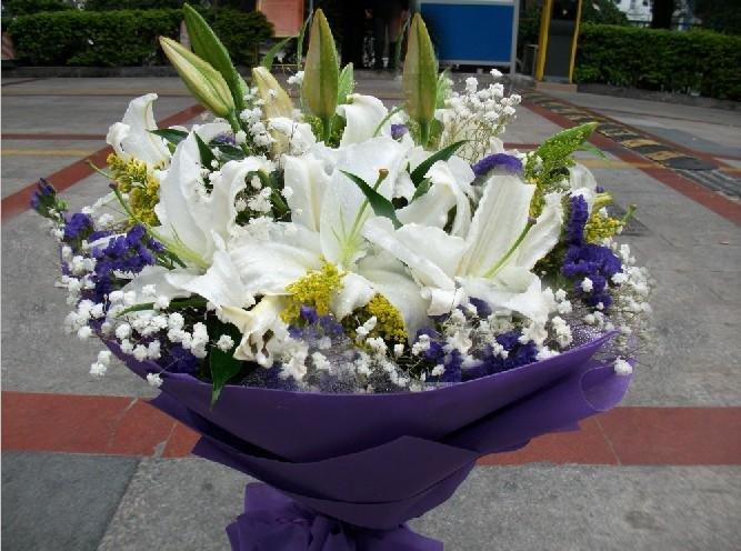 石夏兰香水百合花生日鲜花图片展示。