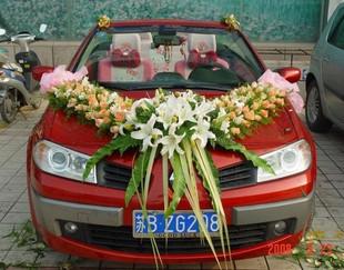 石夏兰【幸福V车】结婚汽车装饰鲜花图片展示。