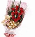 石夏兰11朵红玫瑰加小熊巧克力花束鲜花图片展示。