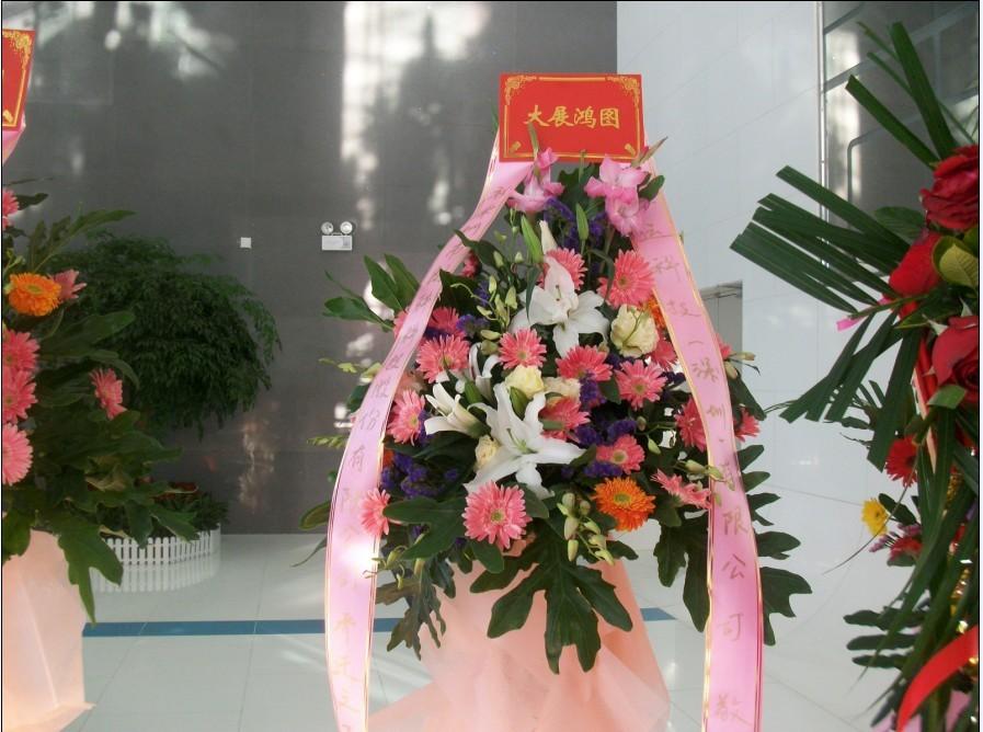 石夏兰一层花篮,路路发,庆典花篮,特价花篮,花材.太阳花,百合,步步高,泰国兰,绿叶,包装,一层开业花篮鲜花图片展示。