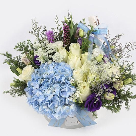 石夏兰白玫瑰,绣球,洋桔梗,礼盒花,398元,节日送礼鲜花,三八女神节送花,商务生日送花,礼仪饰花鲜花图片展示。