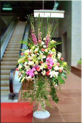 石夏兰有朋自远方来,迎宾花篮,西式花篮,罗马柱花篮,蝴蝶兰鲜花图片展示。