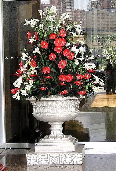 石夏兰酒店大堂花仿真插花鲜花图片展示。