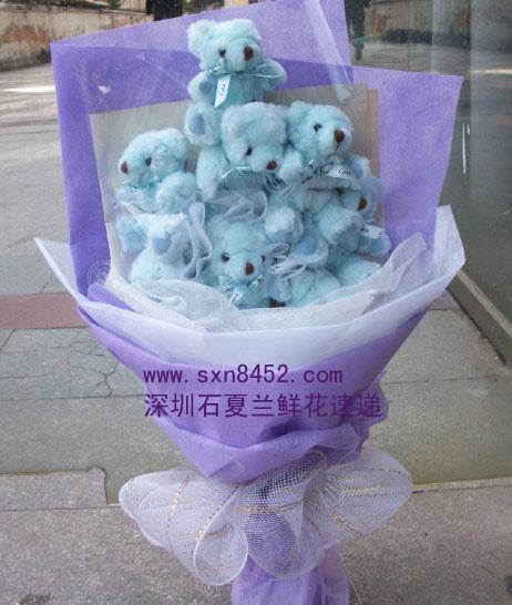 石夏兰8个小熊卡通花束鲜花图片展示。