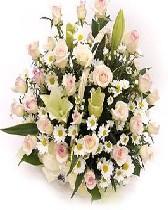 石夏兰香槟玫瑰与白合生日花篮鲜花图片展示。