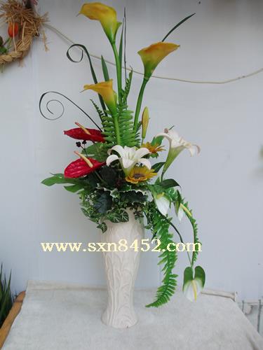 石夏兰大堂客厅摆放花仿真鲜花图片展示。