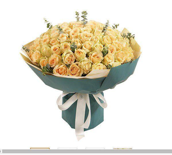 石夏兰快递生日鲜花,久久之恋,99朵香槟玫瑰,花材,99朵香槟色玫瑰,包装,圆形精包装价格为平时价,节日价鲜花图片展示。