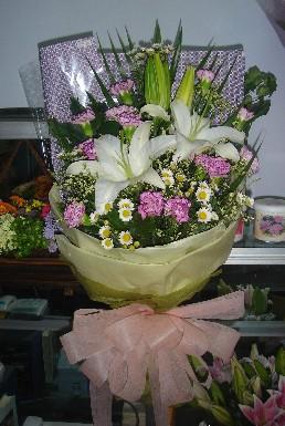 石夏兰康乃馨花束(篮)鲜花图片展示。