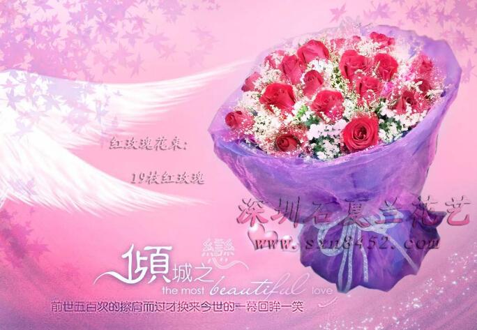 石夏兰19朵红玫瑰,鲜花,爆款特价,深圳福田,罗湖,南山,速递,鲜花店,同城速递鲜花图片展示。