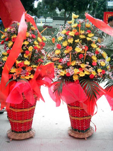石夏兰生意兴旺,深圳大鹏,中式开业花篮鲜花图片展示。