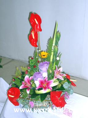 石夏兰【高视阔步】,祝寿花篮鲜花图片展示。