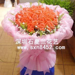 石夏兰【缘定】33朵粉玫瑰鲜花图片展示。
