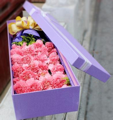 石夏兰19朵粉色康乃馨,礼盒,母亲节,鲜花,预定,38妇女节鲜花,教师节,鲜花礼盒,妈妈生日鲜花,深圳花店,送花,罗湖 鲜花图片展示