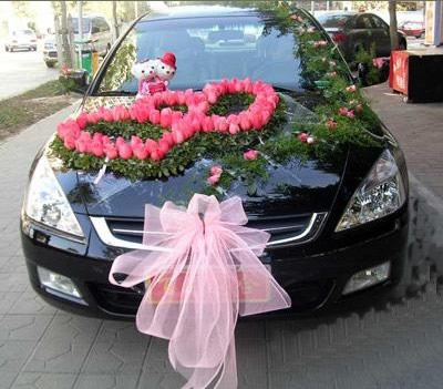 石夏兰【比翼高飞】婚礼迎新花车鲜花图片展示。