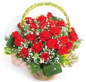 石夏兰24朵红玫瑰鲜花图片展示。