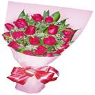 石夏兰情人节鲜花,19朵红玫鲜花图片展示。