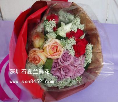 石夏兰19朵多色玫瑰,混搭,送朋友花束,皇岗,生日花束鲜花图片展示。