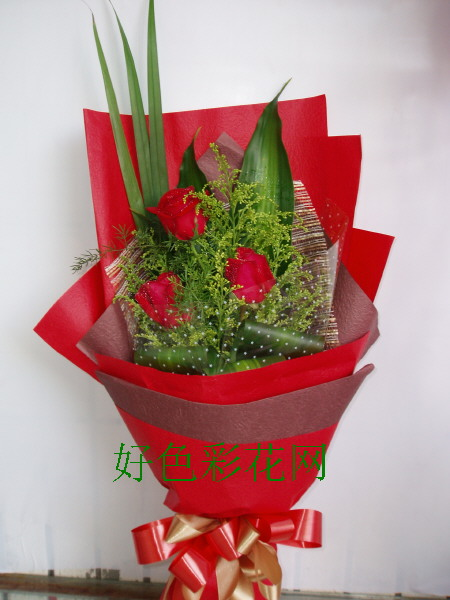 石夏兰3枝红玫瑰鲜花图片展示