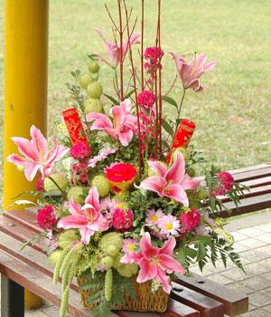 石夏兰祝福花篮【福如东海】鲜花图片展示。