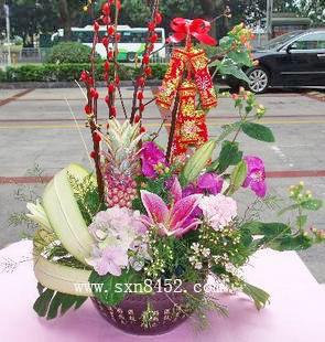 石夏兰送客户长辈花篮鲜花图片展示