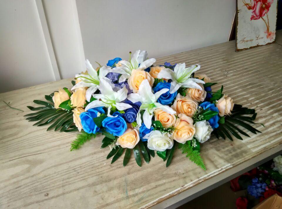 石夏兰仿真会议桌花,休息室仿真花,装饰仿真花,花材, 仿真蓝玫瑰,仿真香槟玫瑰,仿真白玫瑰,仿真百合,仿真绿叶鲜花图片展示