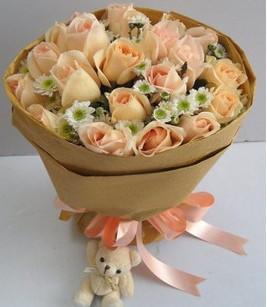 石夏兰【深情依恋】22朵香槟色玫瑰花鲜花图片展示。