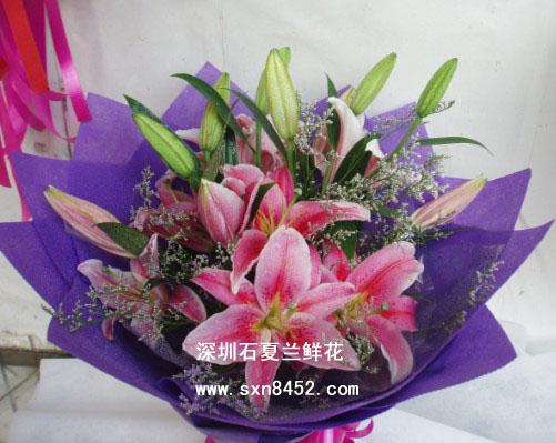石夏兰3支香水百合花束鲜花图片展示。