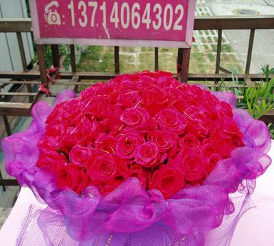 石夏兰99朵玫瑰鲜花图片展示。