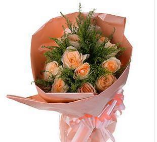 石夏兰10朵香��玫瑰花束鲜花图片展示。
