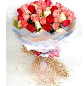 石夏兰生日,11朵红玫瑰花,粉玫瑰,送朋友,混搭,石厦花店鲜花图片展示。
