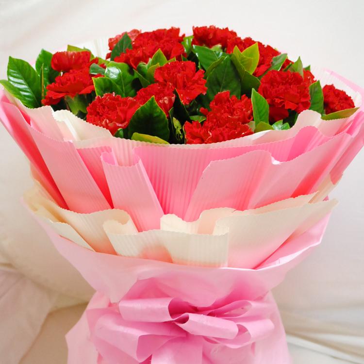 石夏兰18枝康乃馨花束, 妈妈生日鲜花图片展示。