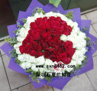 石夏兰I apply to get into your life.我申请,加入你的人生。 108朵白玫瑰与红玫瑰混搭心型鲜花图片展示。