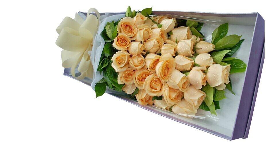 石夏兰香槟玫瑰礼盒,情人节鲜花,爱的祝福,33朵香槟玫瑰,礼盒,¥598,会员价,¥439,福田中心区花店鲜花图片展示