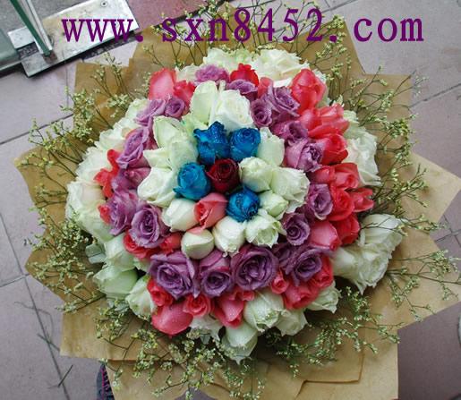 石夏兰99朵各色玫瑰花束鲜花图片展示。