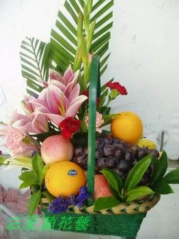 石夏兰香水百合水果篮速递鲜花图片展示