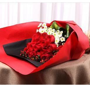 石夏兰快乐在一起】-19枝大红玫鲜花图片展示