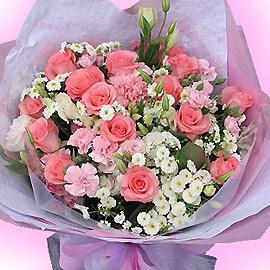 石夏兰【花样妈咪】粉色玫瑰康乃馨花束鲜花图片展示。