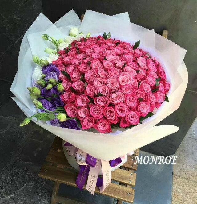 石夏兰99朵唐果粉玫瑰,送给相爱的人生日贺礼鲜花图片展示