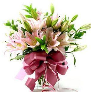 石夏兰6枝粉百合鲜花图片展示。