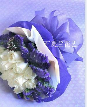 石夏兰20朵白玫,生日送鲜花图片展示。