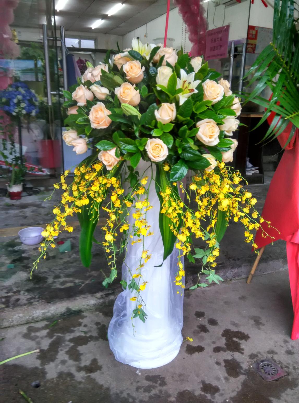 石夏兰节日,商务花篮,跳舞兰,迎宾,路引,589元,花材,香槟玫瑰,舞女兰,绿叶,包装,罗马柱花篮鲜花图片展示