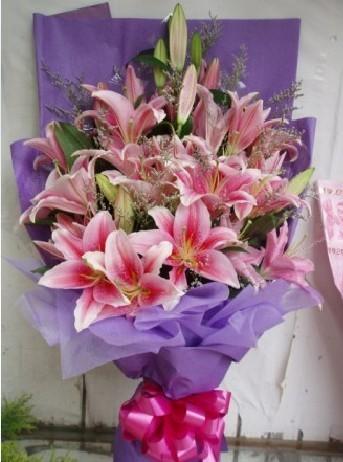 石夏兰13枝粉香水百合家人生日,鲜花快递,深圳花束, 深圳上沙,沙尾花店鲜花图片展示。