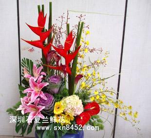 石夏兰【富贵祥瑞】精致花篮鲜花图片展示