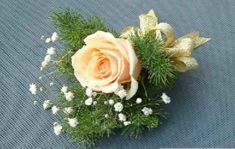 石夏兰玫瑰礼仪胸花,10个以上起送,花材,香槟玫瑰花,绿叶,包装,会议胸花,庆典襟花鲜花图片展示